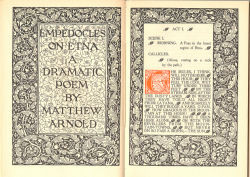 Title opening from Arnold's Empedocles on Etna using Kelmscott border