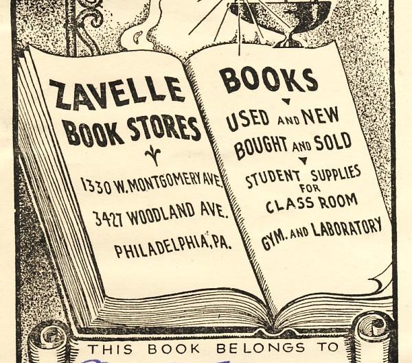 Book Store Labels: Zavelle Book Stores, Philadelphia