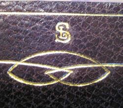 Interlocking 'LS' initials at back of Rossetti volume