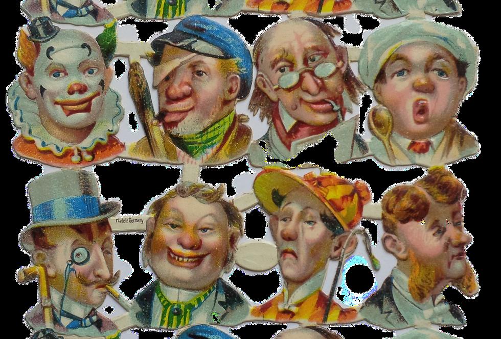 Caricatures - sheet of vintage die cut stickers