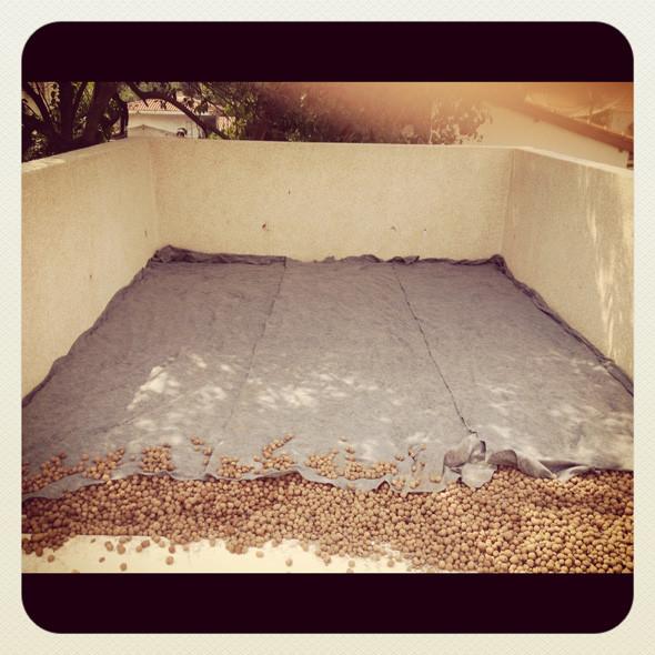Execução de telhado verde: camada filtrante
