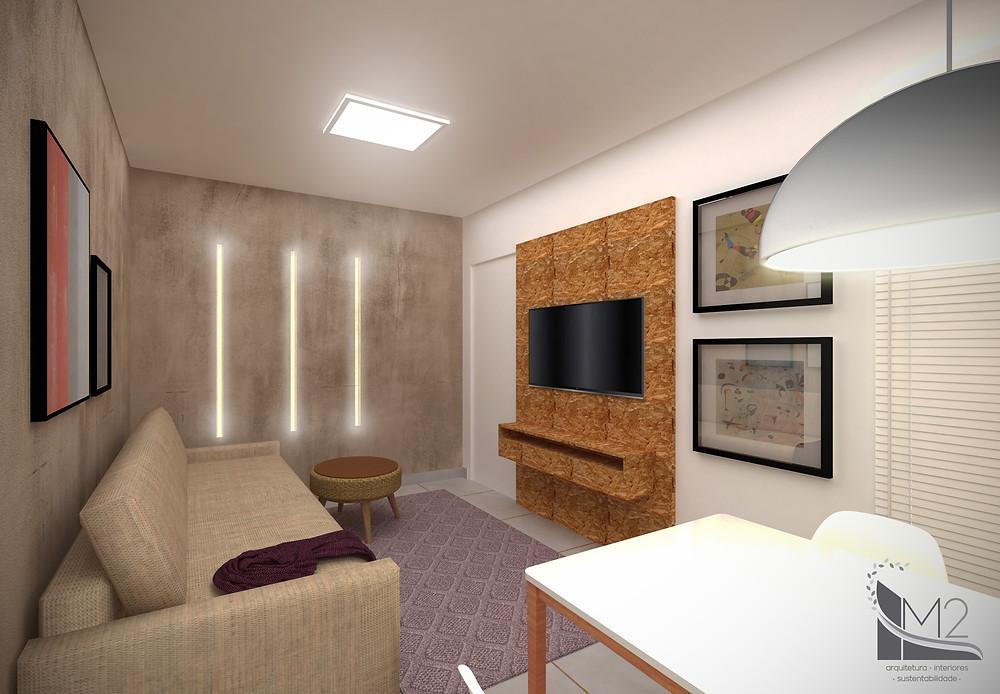 sala pequena decorada de baixo custo com iluminação