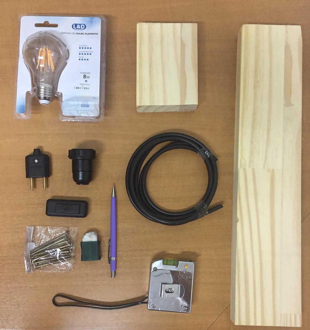 materiais para luminária de mesa D.I.Y de madeira