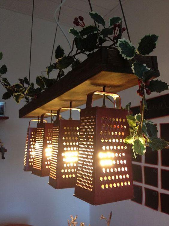 luminárias feitas com raladores