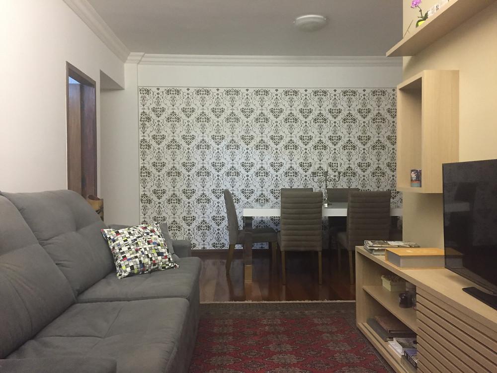 sala de jantar decorada com stencil