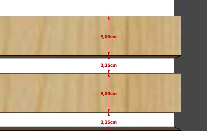 detalhe do espaçamento das ripas