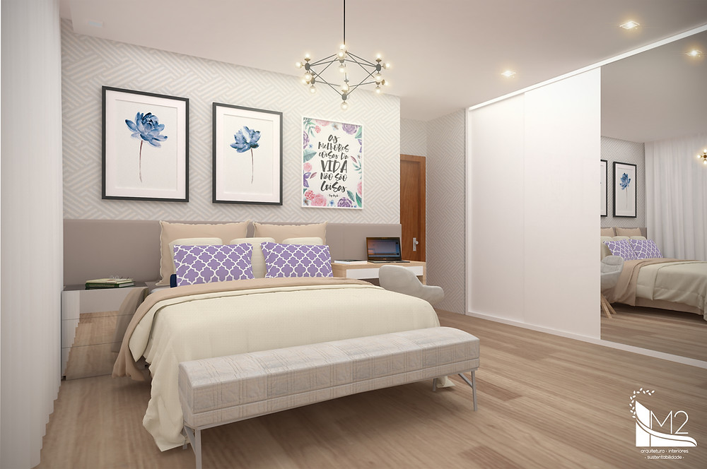 quarto de casal decorado clean