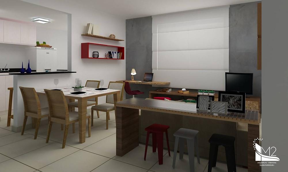 sala de jantar e estar com cozinha americana apartamento pequeno