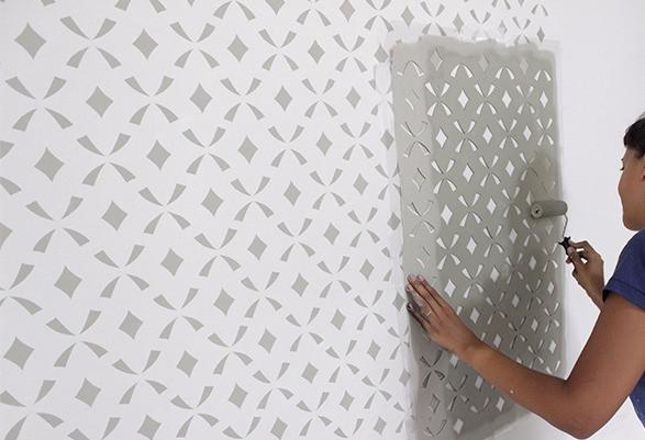 pintura na parede com stencil