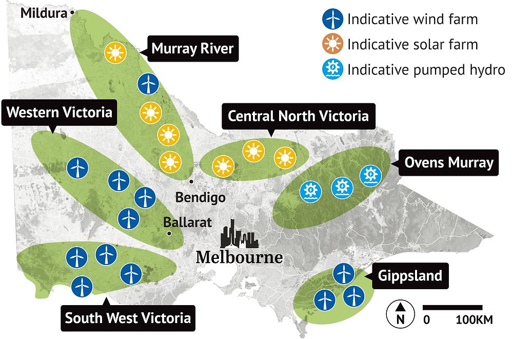 six renewable energy zones in Victoria