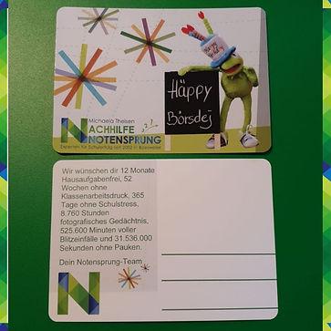 Geburtstagskarte Nachhilfe Notensprung B
