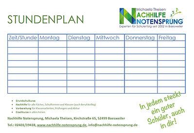 Ein Nachhilfe Notensprung Stundenplan für unsere Schüler zum herunterladen