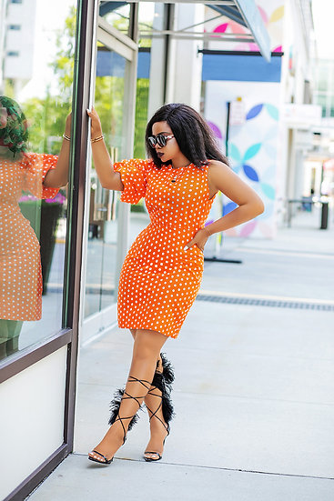 Polka Dot Balloon Sleeve Dress