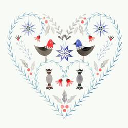 Christmas Heart. Watercolour, A4