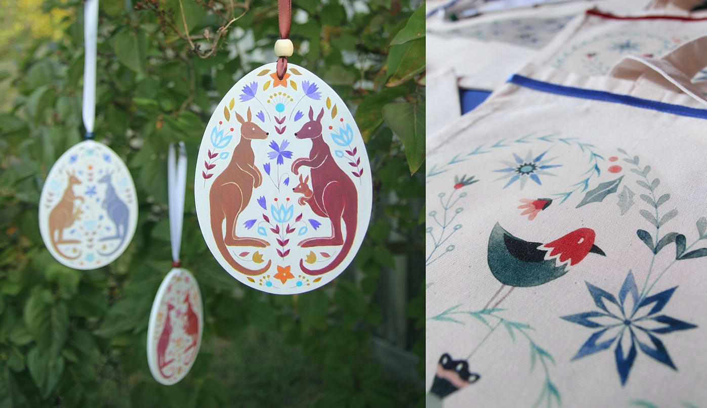 Folk inspired decorations and prints