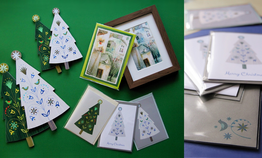 Greeting cards and Christmas decorations