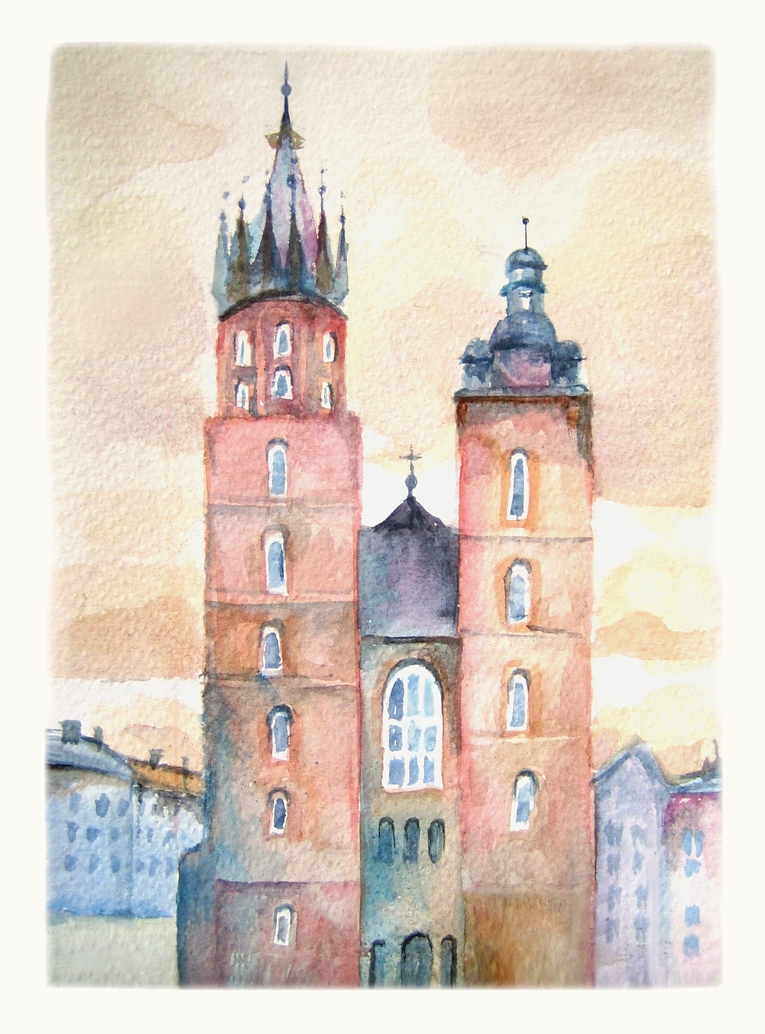 St Mary's Basilica. Watercolour