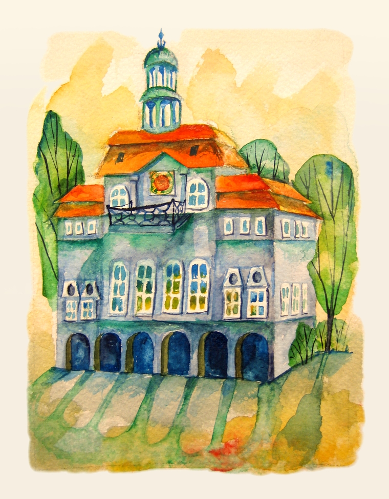 Townhall in Luneburg. Watercolour