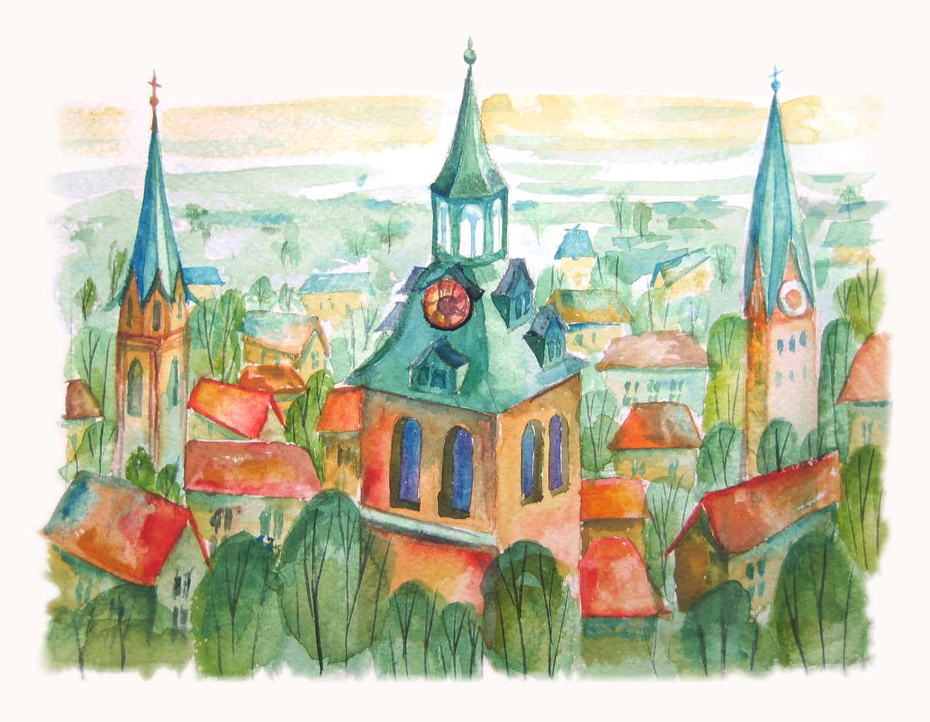 Three towers, Luneburg. Watercolour
