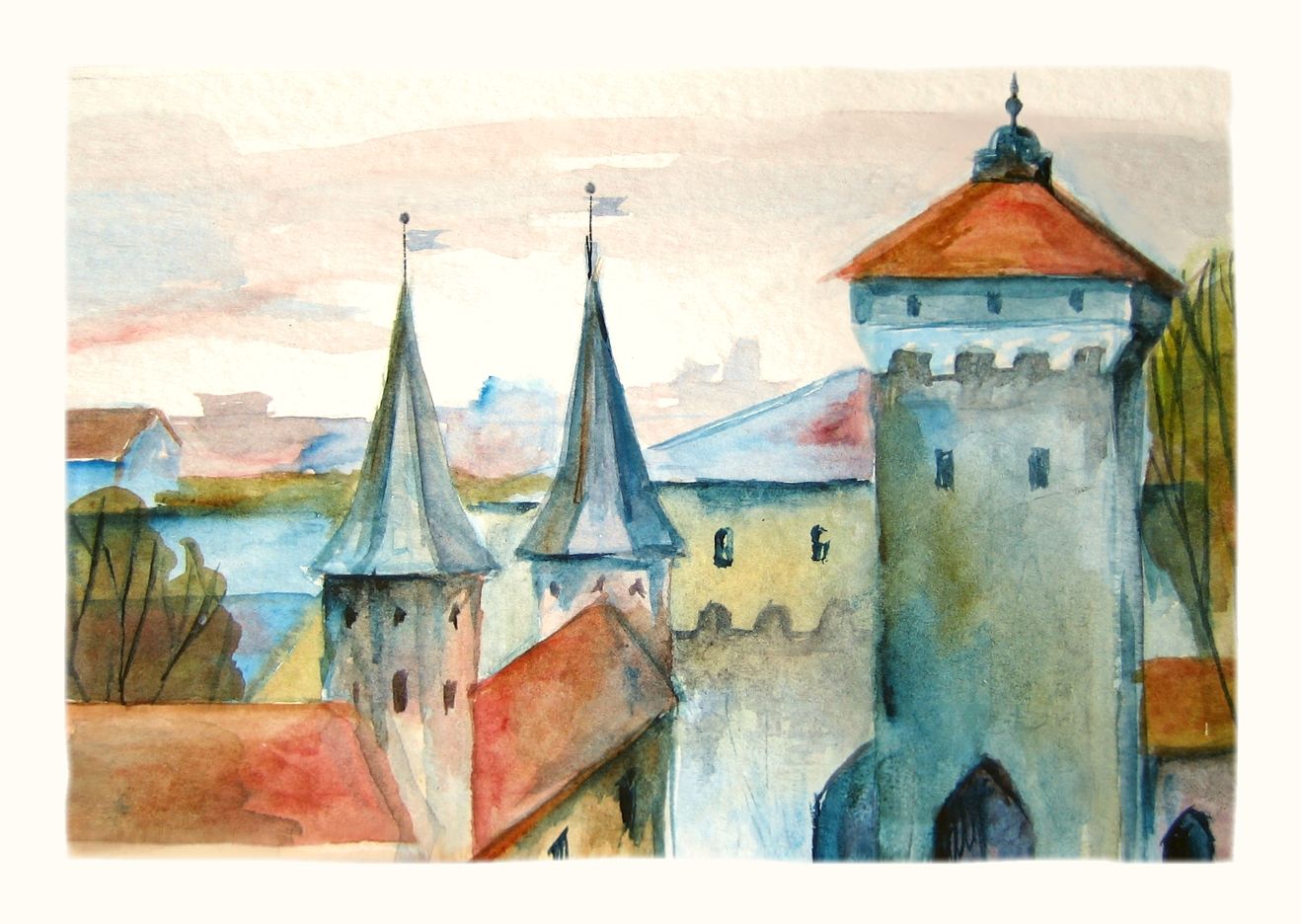 St Florian Gate. Watercolour