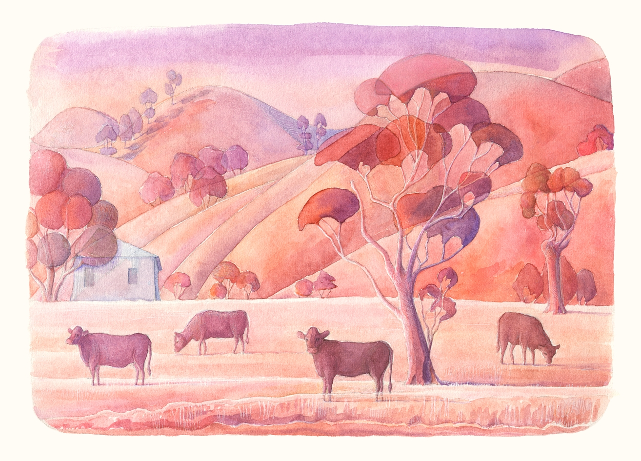 Australian farm. Watercolour, A4