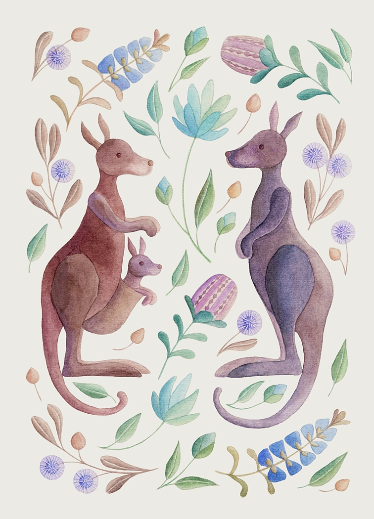 Kangaroo family. Watercolour, A4