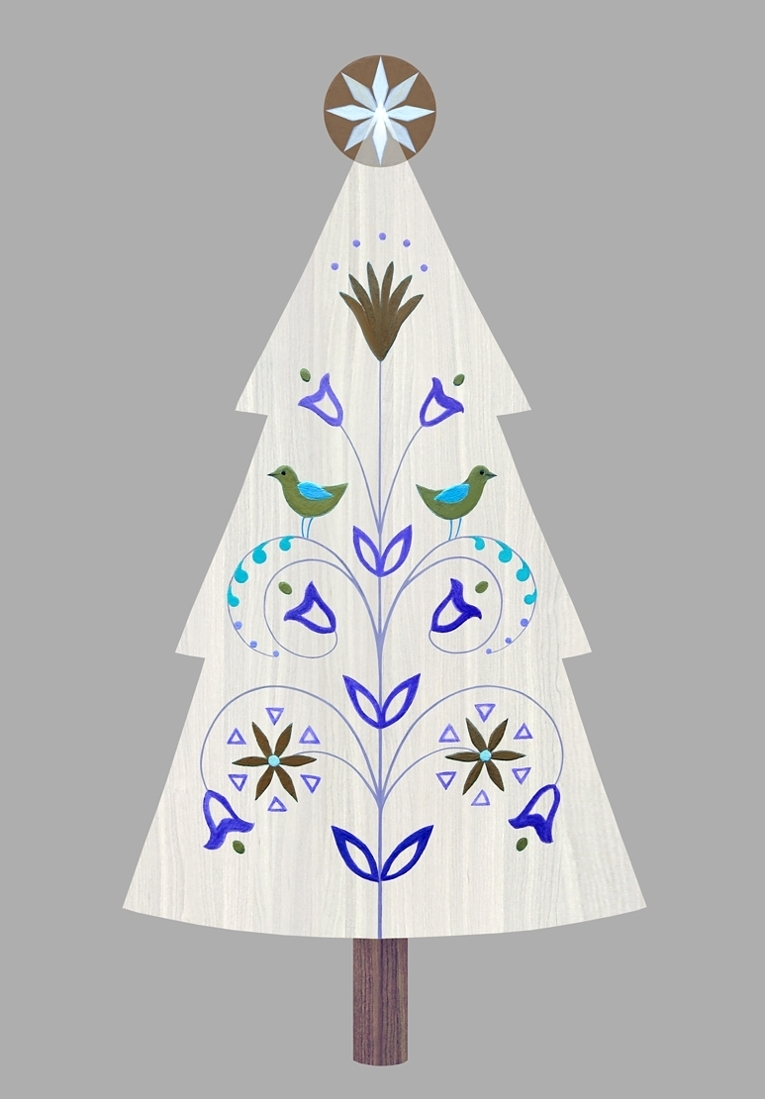 Folk Christmas Tree. Digital art