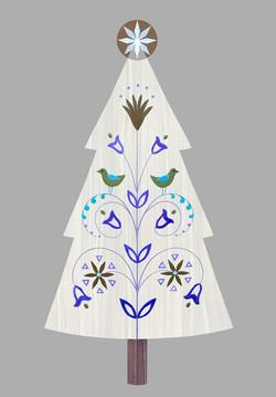 Folk Christmas Tree. Digital art