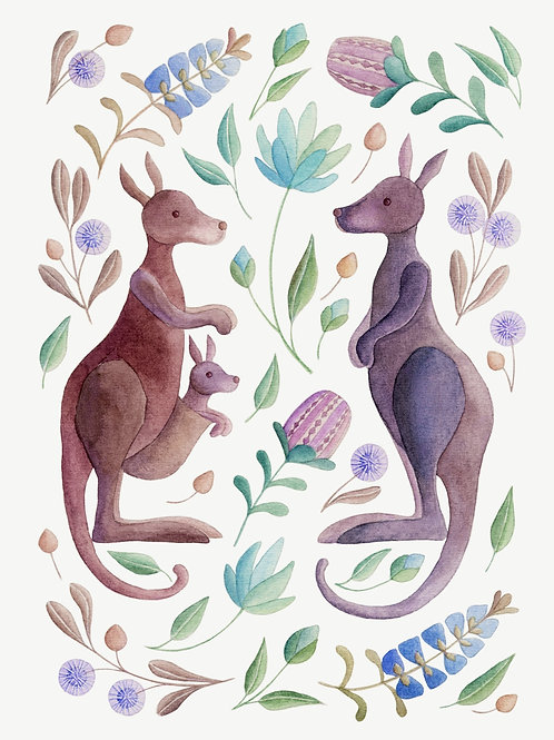 Kangaroo Family among Flowers - Giclée Art Prints