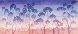 Australian sunset. Watercolour