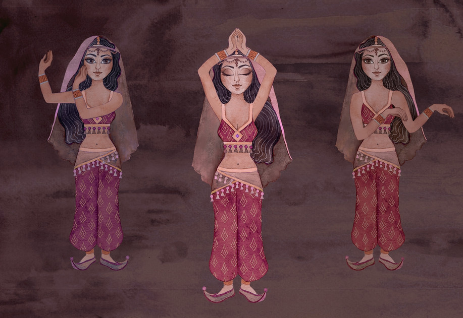 Visual of Indian belly dancers