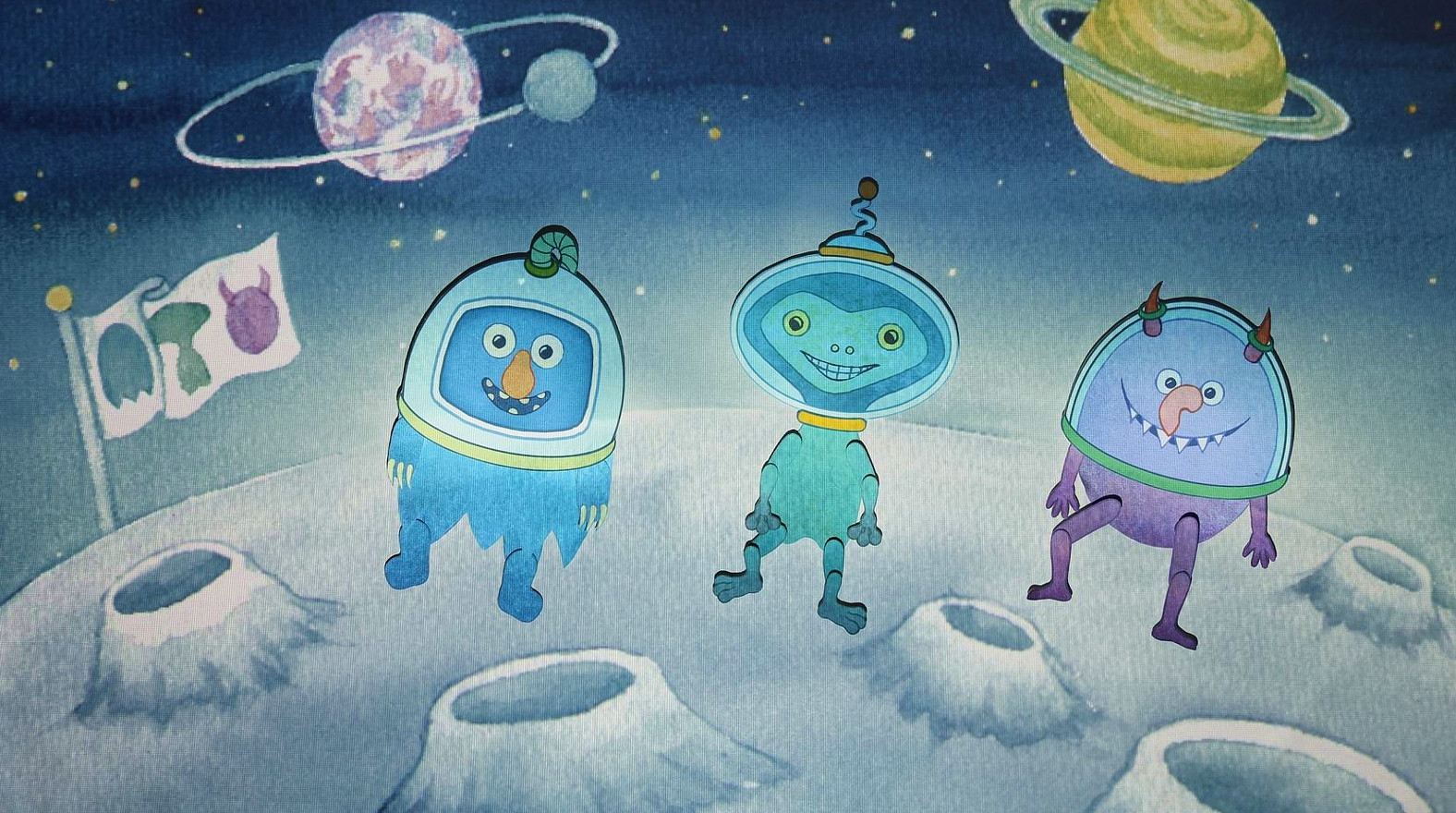 Dancing monster trio in the space