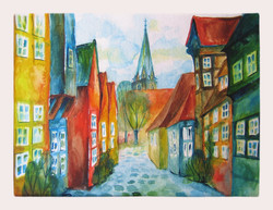 Street in Luneburg. Watercolour