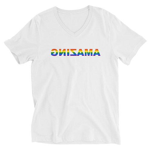 Unisex Short Sleeve V-Neck T-Shirt (AMAZING has Pride)