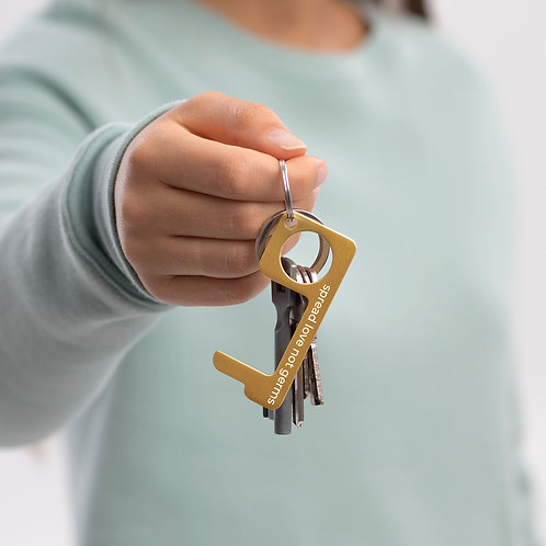 Engraved Brass Touch Tool (spread love not germs)