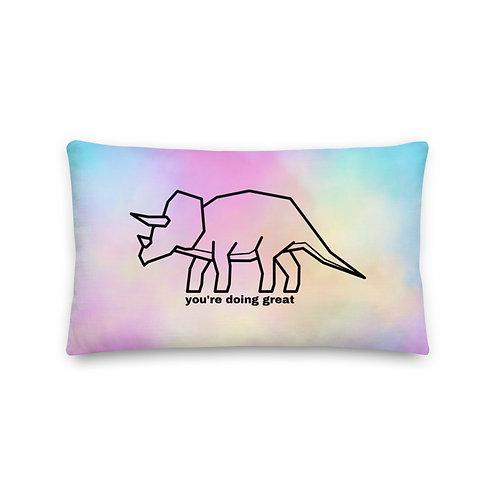 Tie Dye Pillow (You're Doing Great Dinosaur)