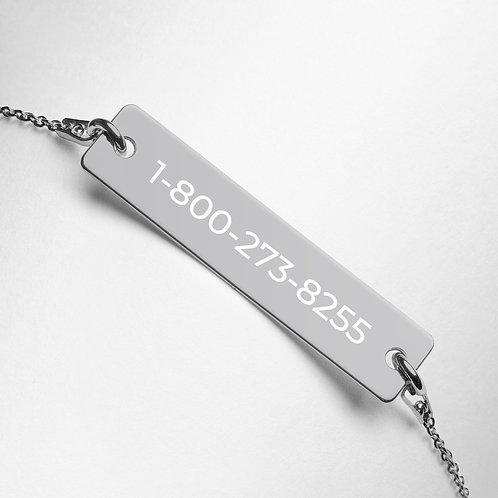 Engraved Silver Bar Chain Bracelet (National Lifeline Phone Number)