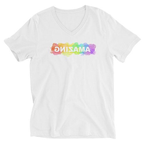 Unisex Short Sleeve V-Neck T-Shirt (AMAZING in Rainbow)
