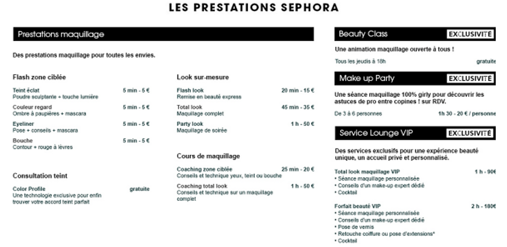 LES PRESTATIONS SEPHORA