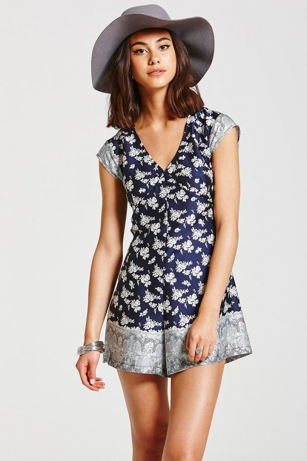 Little Mistress - Girls on Film Navy and White Floral Playsuit £35.00
