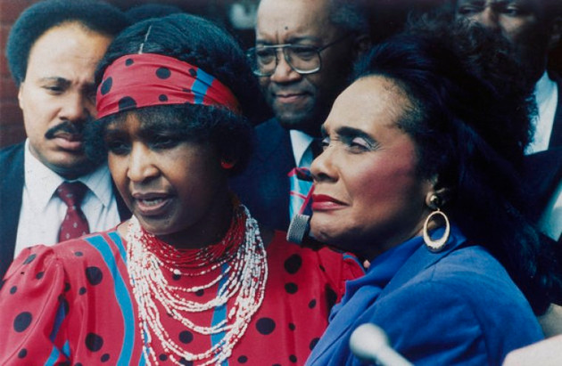 Winnie Mandela, left, wife of jailed African National Congress leader Nelson Mandela, is seen with Coretta Scott King, widow of American civil rights leader Dr. Martin Luther King, Jr., in Soweto, Sept. 11, 1986.  (AP Photo/Greg English)
