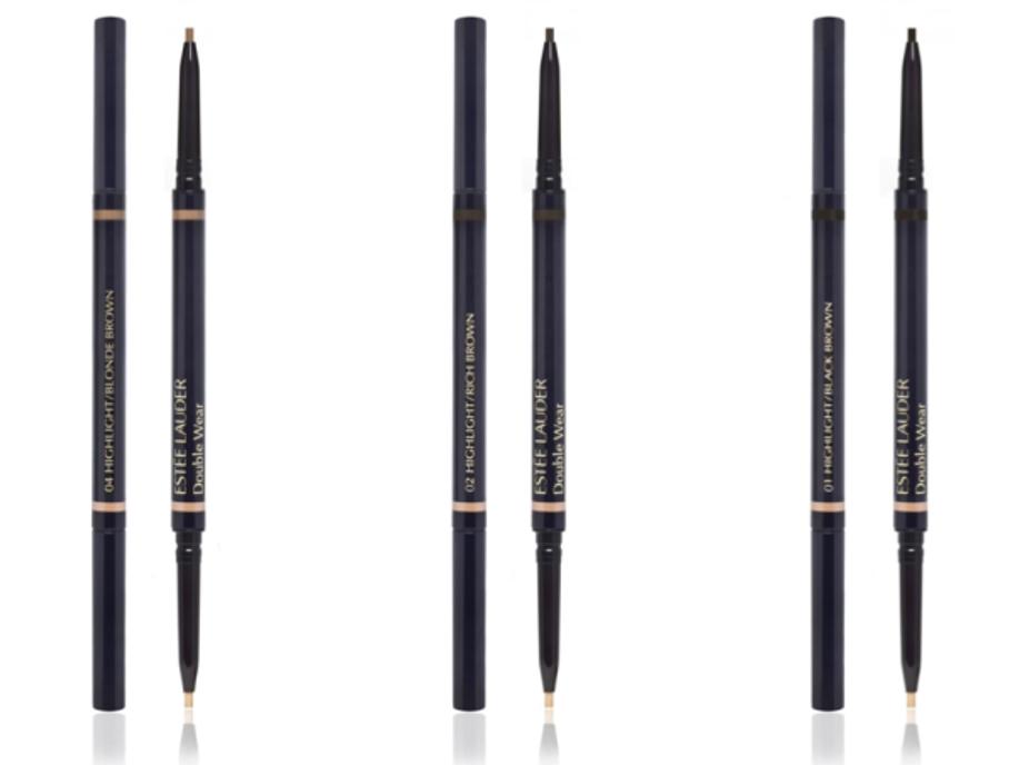 Le nouveau Double Wear Crayon sourcils duo longue tenue, à double embout et extra fin, permet de redessiner et souligner les sourcils