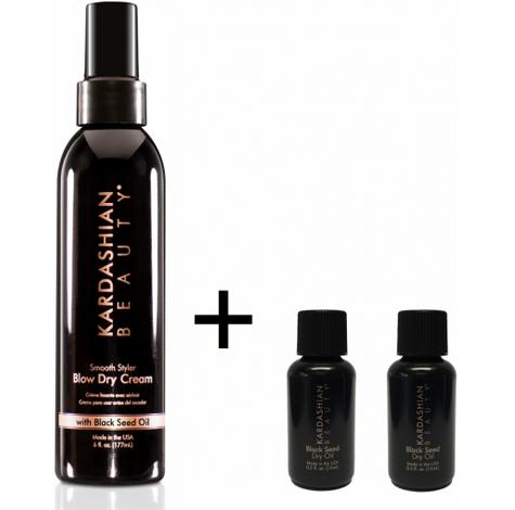 Kardashian Beauty Black Seed Dry Oil un traitement et un style riche en éléments nutritifs qui rajeunit et nourrit les cheveux pour les rendre plus forts, épais, lisses et glorieusement brillants.