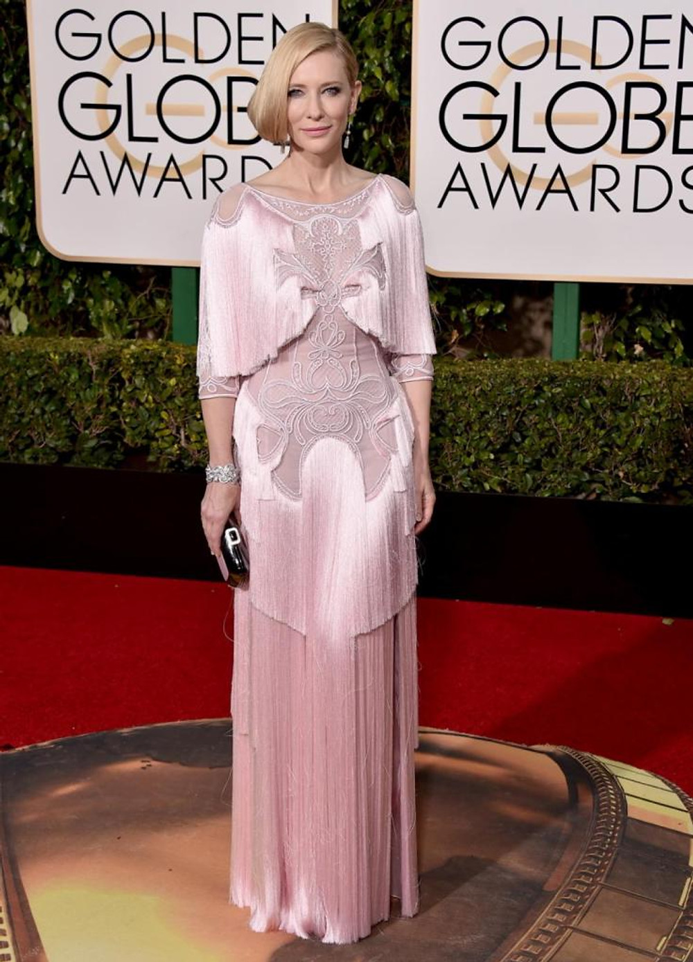 Cate Blanchett, is nominated for Best Actress in a Motion Picture Drama, donned an unusual Twenties-inspired Givenchy design complete with tassels to the 2016 Golden Globes on Jan. 10, 2016.