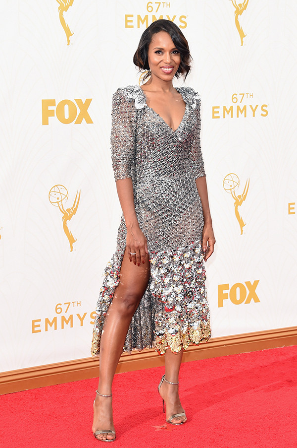 Kerry Washington arrives at the 67th Primetime Emmy Awards on Sunday, Sept. 20, 2015, at the Microsoft Theater in Los Angeles. (Photo/AP)