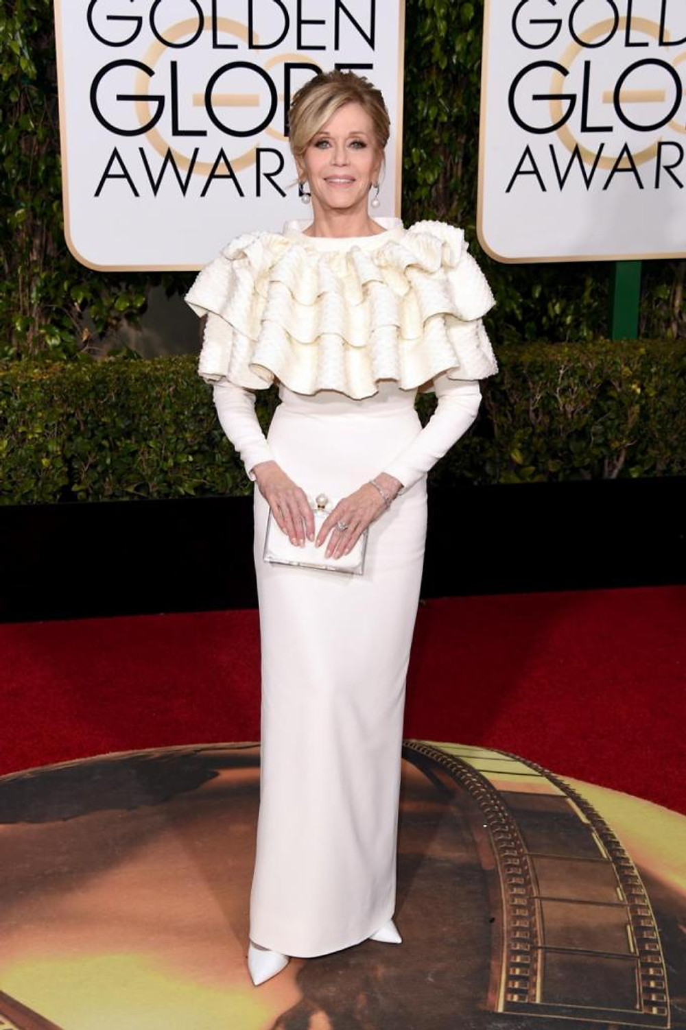 Actress Jane Fonda struck a pose in a striking Yves Saint Laurent Couture by Hedi Slimane gown at the 73rd Annual Golden Globe Awards on Jan. 10, 2016.