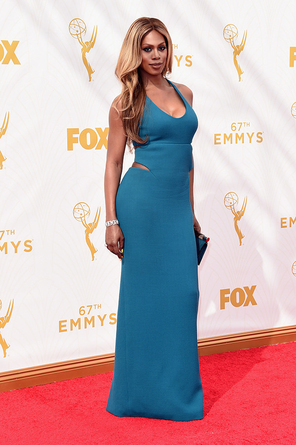 Laverne Cox arrives at the 67th Primetime Emmy Awards on Sunday, Sept. 20, 2015, at the Microsoft Theater in Los Angeles. (Photo/AP)