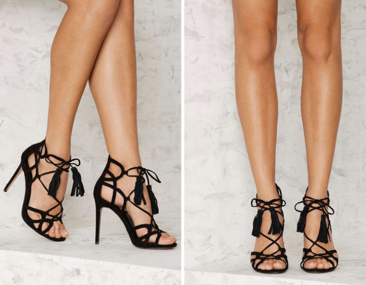 Lipstik Shoes Kazzy Microsuede Heel - Black €87,00