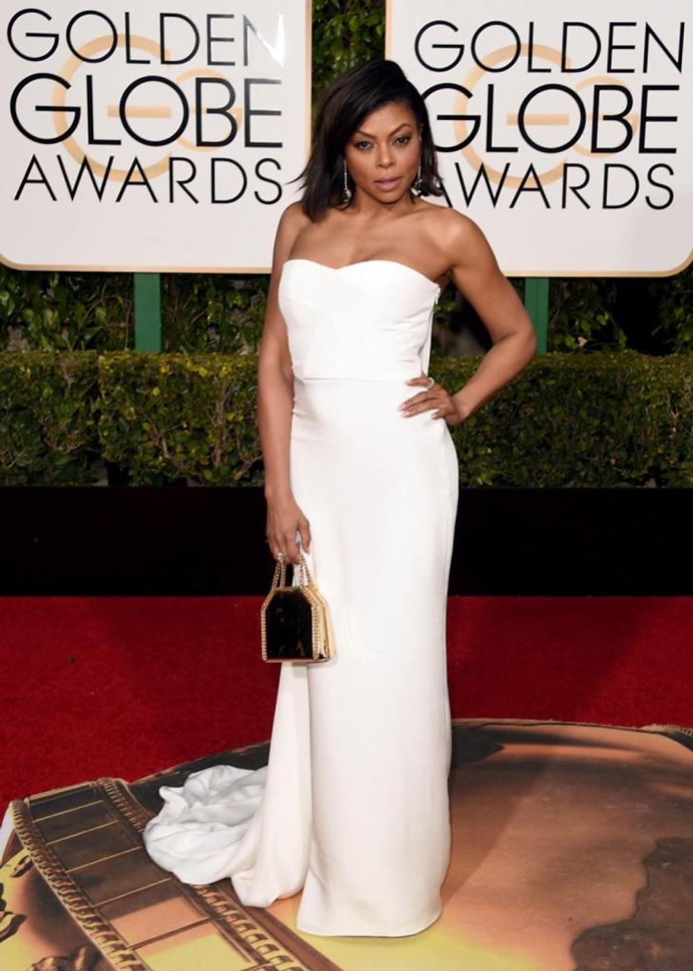 "Actress Taraji P. Henson worked it on the red carpet in a strapless Stella McCartney gown. The 45-year-old ""Empire"" star is nominated in the Best Actress in a TV Series - Drama category."