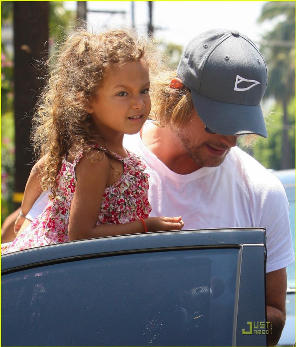 Adorable Nalha leaving school with dad Gabriel Aubry in Los Angeles, CA.